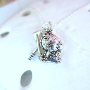 Puffy dragon boat paddle sterling silver necklace